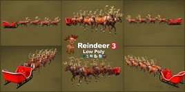 Reindeer Christmas 3D models low poly