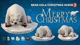 Coca Cola Bear Christmas Scene 3D models.