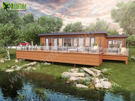 Lodge Exterior Rendering Services with Natural Landscape & Pond – Creative ideas by 3d building drawing Brussels