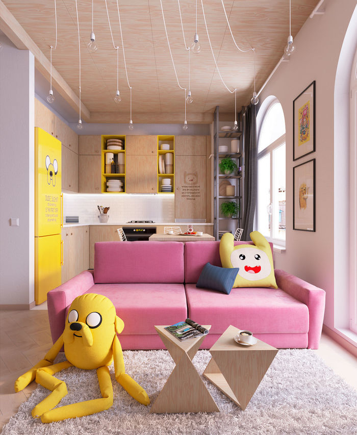 3D visualizations of the flat created in Adventures time cartoon ...