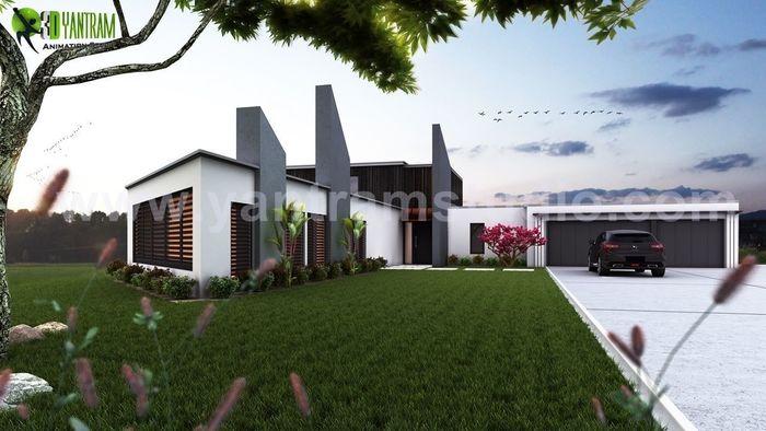 Beautiful Modern Exterior Rendering Design By Yantram Architectural