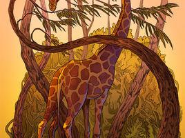african giraffe vector parallax art