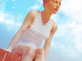 woman on swimming pool