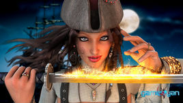 Angela Fantasy Pirates Character Model by Gameyan Game Art Design Companies - California, USA