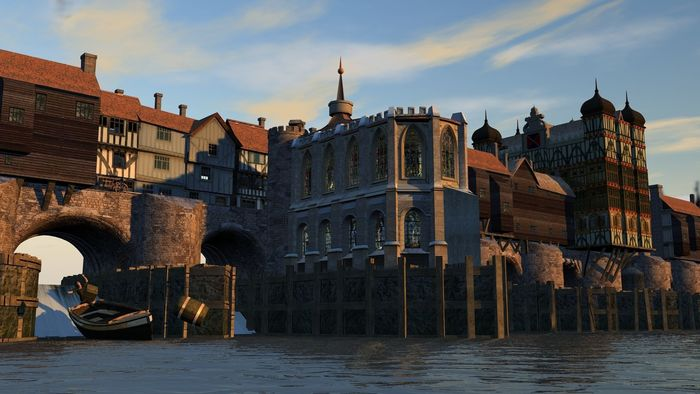 Buy And Sell Apps >> Elizabethan Medieval London bridge | CGTrader