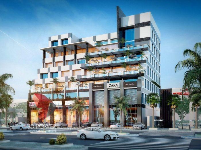Exterior Design Rendering Of Hotel