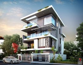 3D Exterior Design Rendering Of Modern House