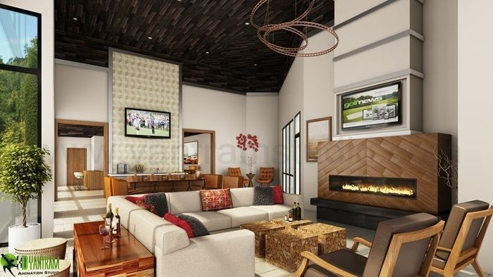 modern club house rendering ideas by yantram 3d interior designers