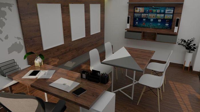Design Interior Home Office Teridiri Dari Ruang Tamu Baca Kerja Dan Meja Meeting Desain Tanpa Sekat