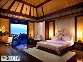 3D Bedroom Evening lighting Interior rendering Design