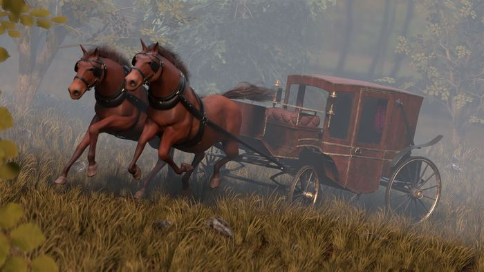 Running horses harnessed to a carriage