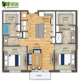 2D Site Floor Plan Design by Yantram 3D Animation Studio, Los Angeles - USA
