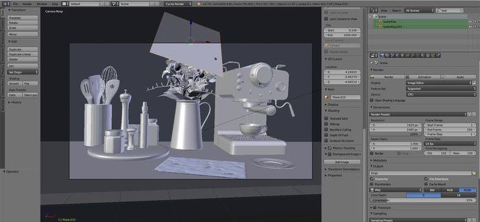 3D kitchen detail scene with utensils and espresso machine