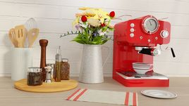 3D kitchen detail scene with utensils and espresso machine
