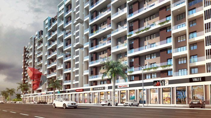 Architectural Rendering For Apartment with commercial spaces