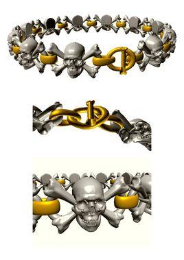 Bracelet made of skulls and bones