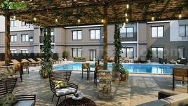 3D Exterior Rendering of Courtyard & Pool Design  By Yantram Architectural Visualisation Studio, London – U.K