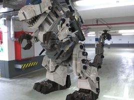 Robot T-Rex in a Parking Garage