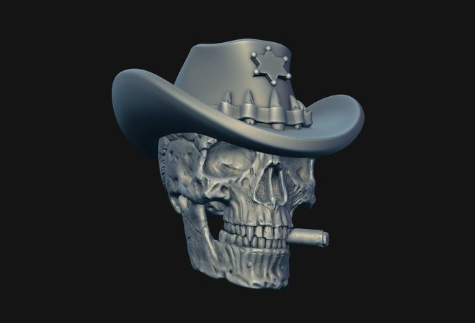 skull sheriff 3d model obj mtl fbx stl blend 1