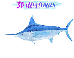 3D model Low Poly Blue-Marlin Fish illustration Animated 2