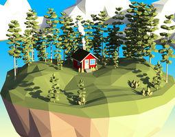 3D asset Low Poly Lodgepole Pine Tree Set