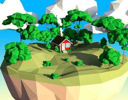 Low Poly Elm Tree Set 3D asset
