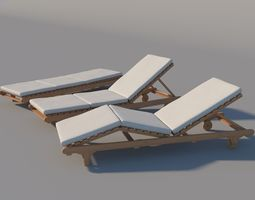 Chaise Lounge 3D model pool
