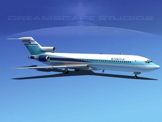 Boeing 727 200 El Al 3d Model Rigged Max Obj 3ds Lwo