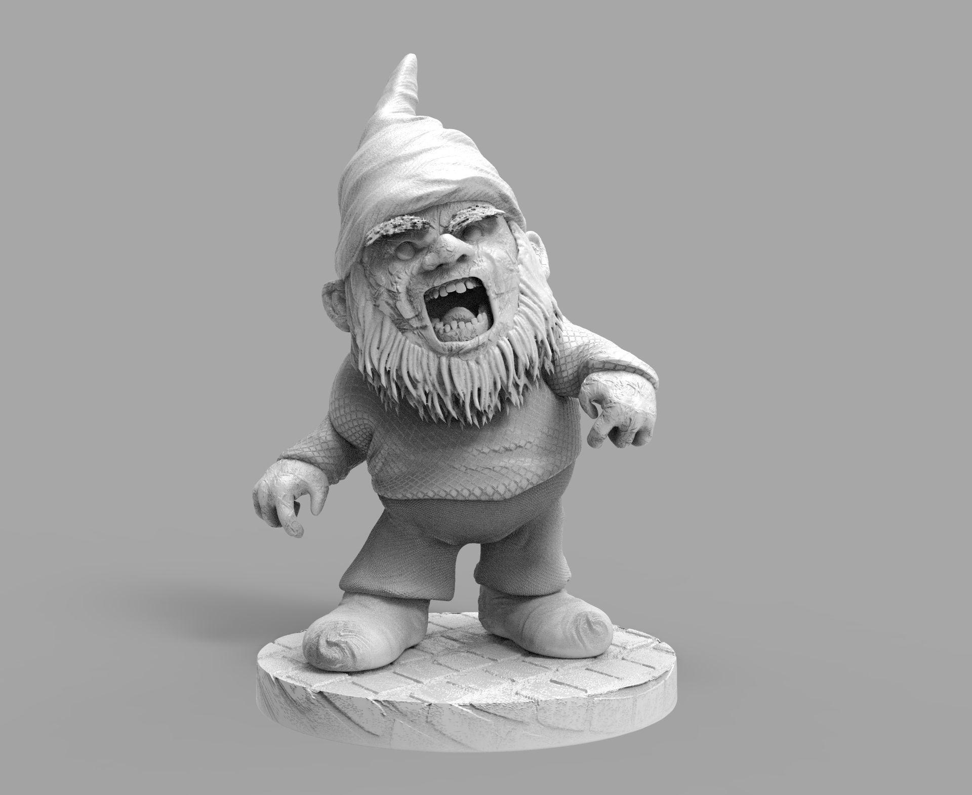 Zombie Evil Garden Gnome 3D Print Model Diorama
