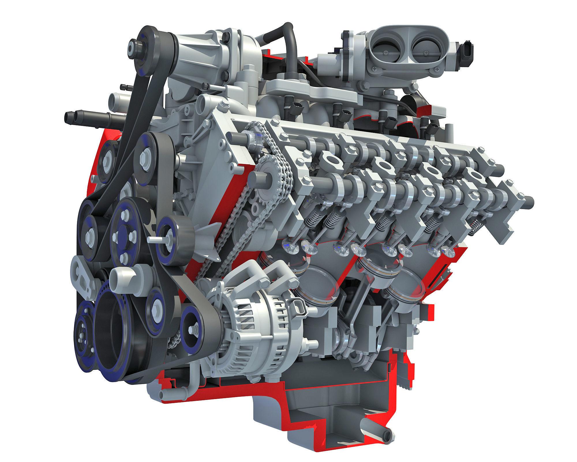 Sectioned Animated V8 Engine