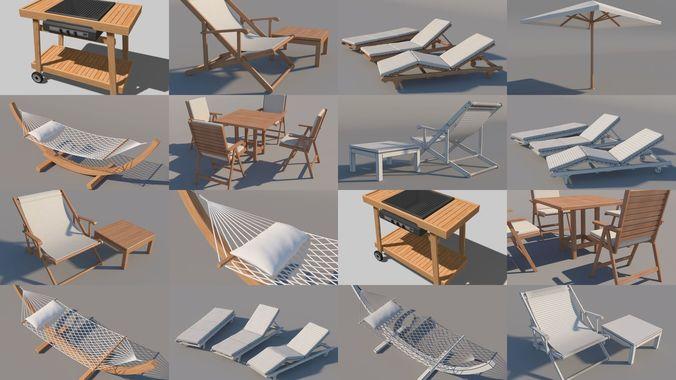 garden furniture 3d model max obj mtl 3ds fbx 1