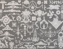 Carved Elements Collection -2 - 59 pieces 3D model