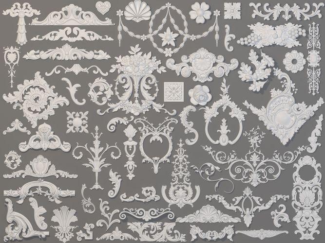 carved elements collection -2 - 59 pieces 3d model max obj mtl fbx stl 1