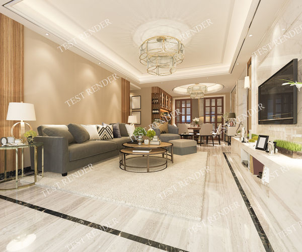 luxury modern living room and dining room with tv 3d model