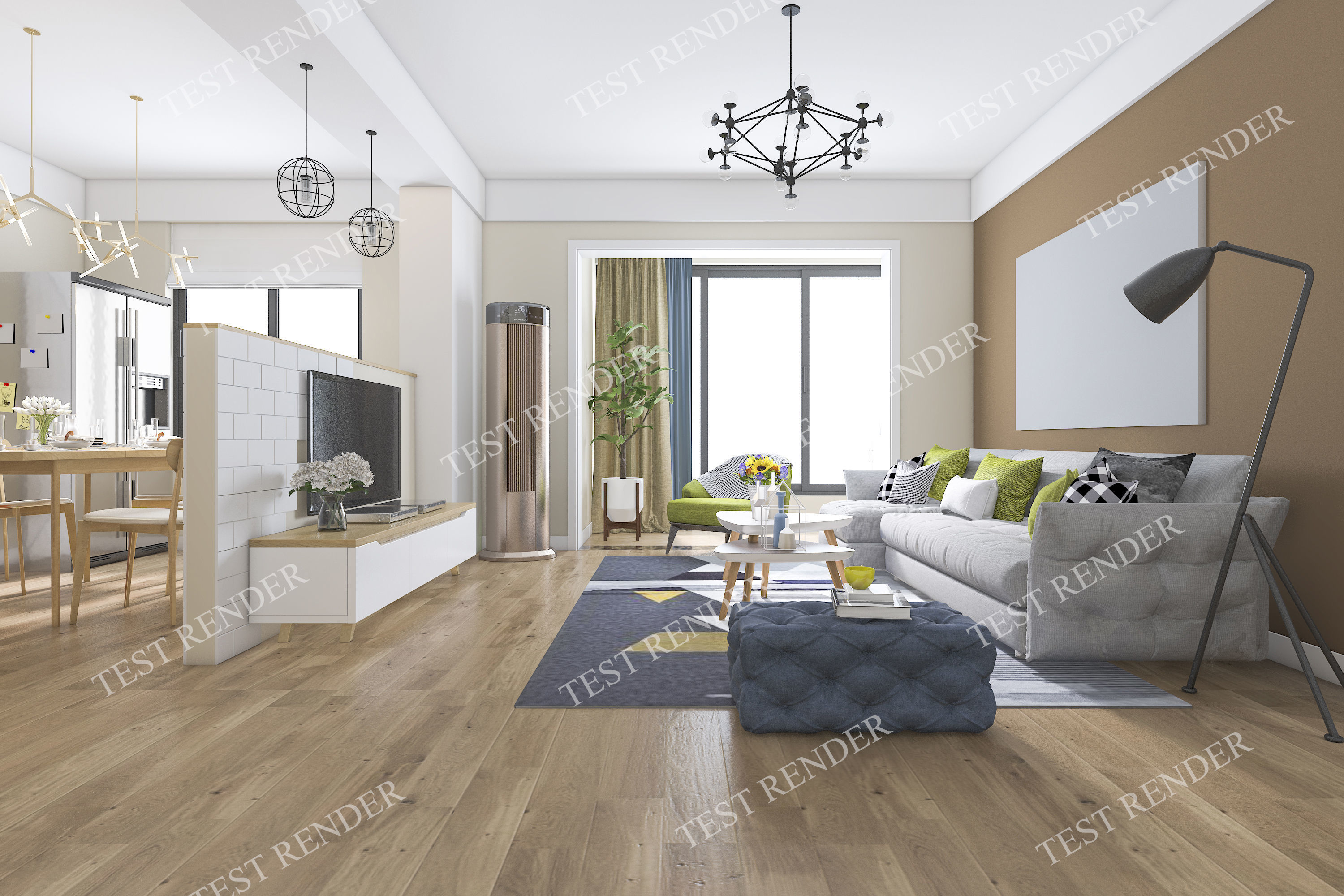Modern Living Room With Tv And Kitchen And Dining 3d Model
