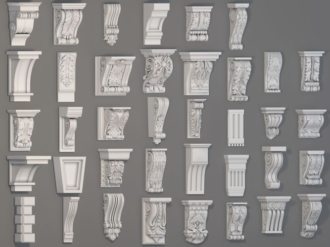corbels collection -1 - 38 pieces 3d model max obj mtl fbx stl 1