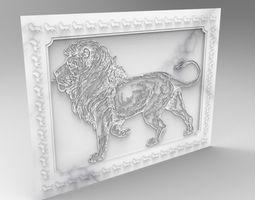 lion frame relief 3D model