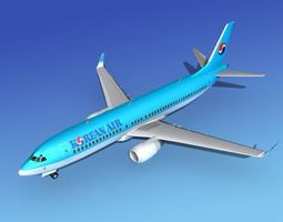 Boeing 737-800 Korean Air 3D model