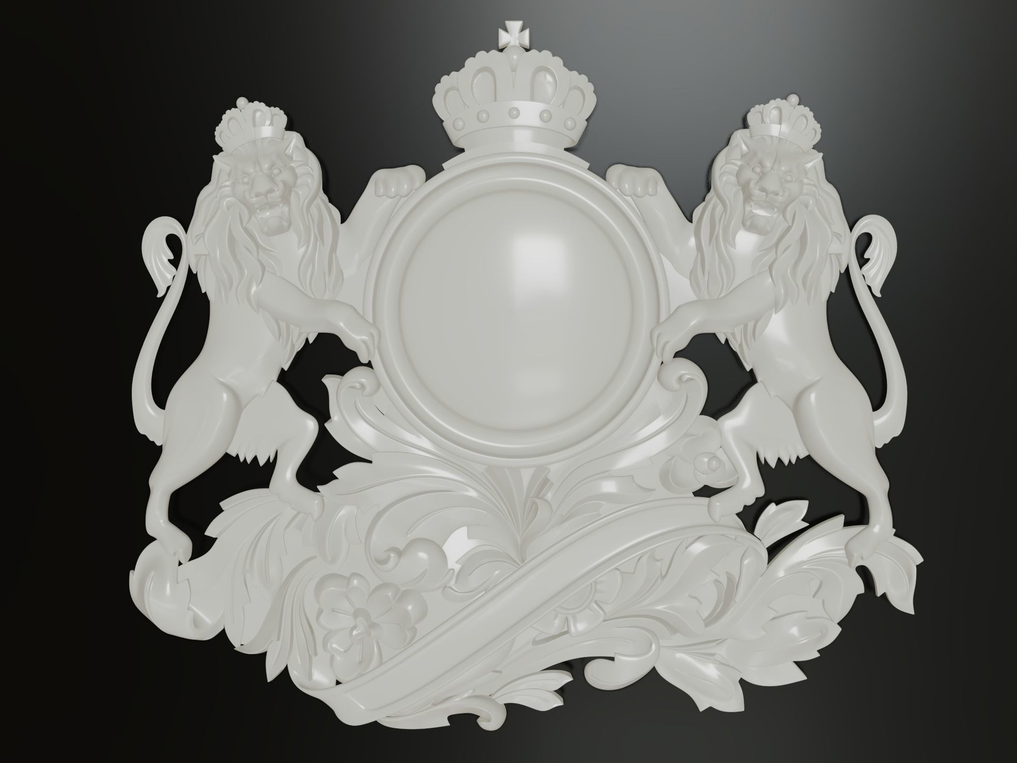 Classic baroque cartouches onlay element 004