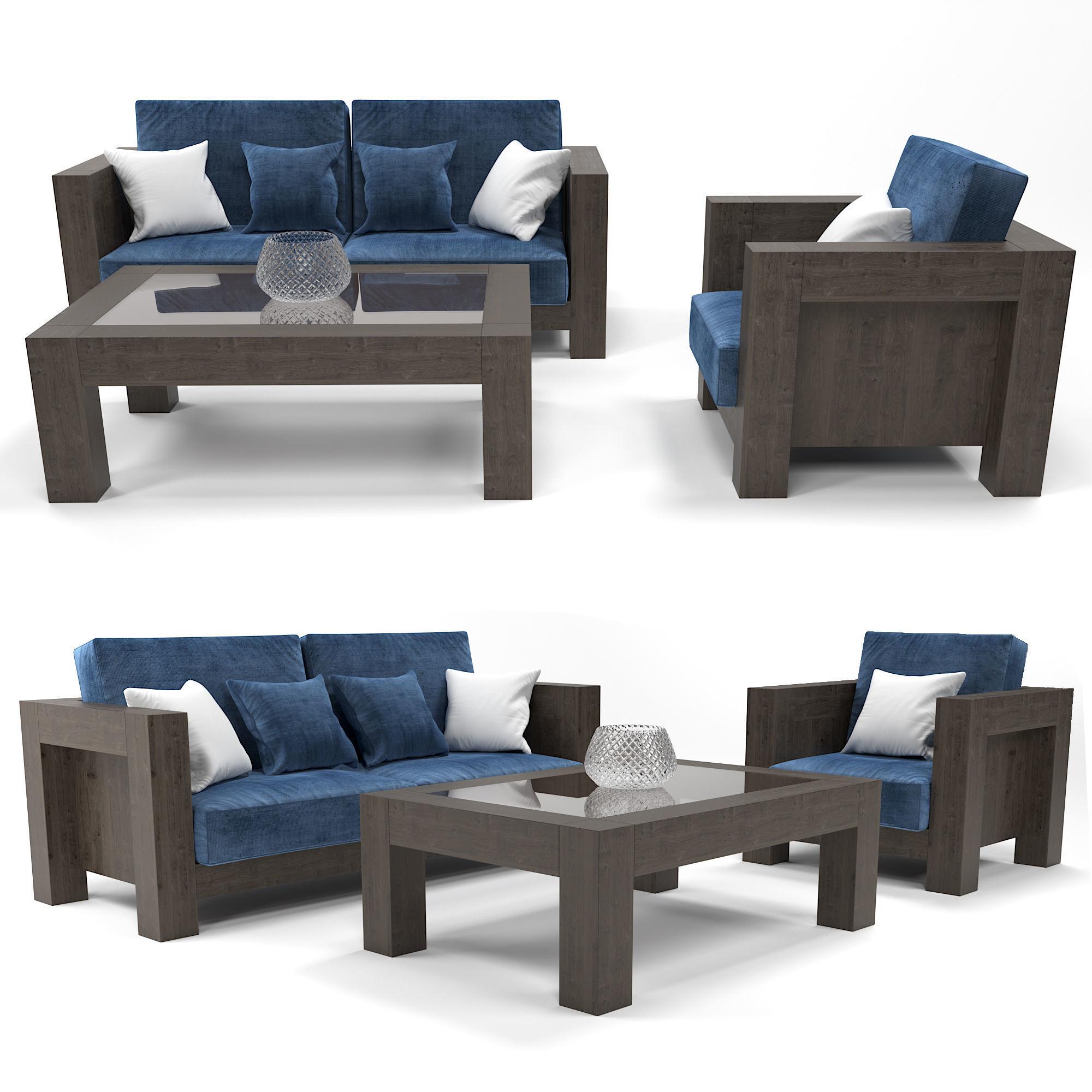 Modern Wooden Sofa | 3D model