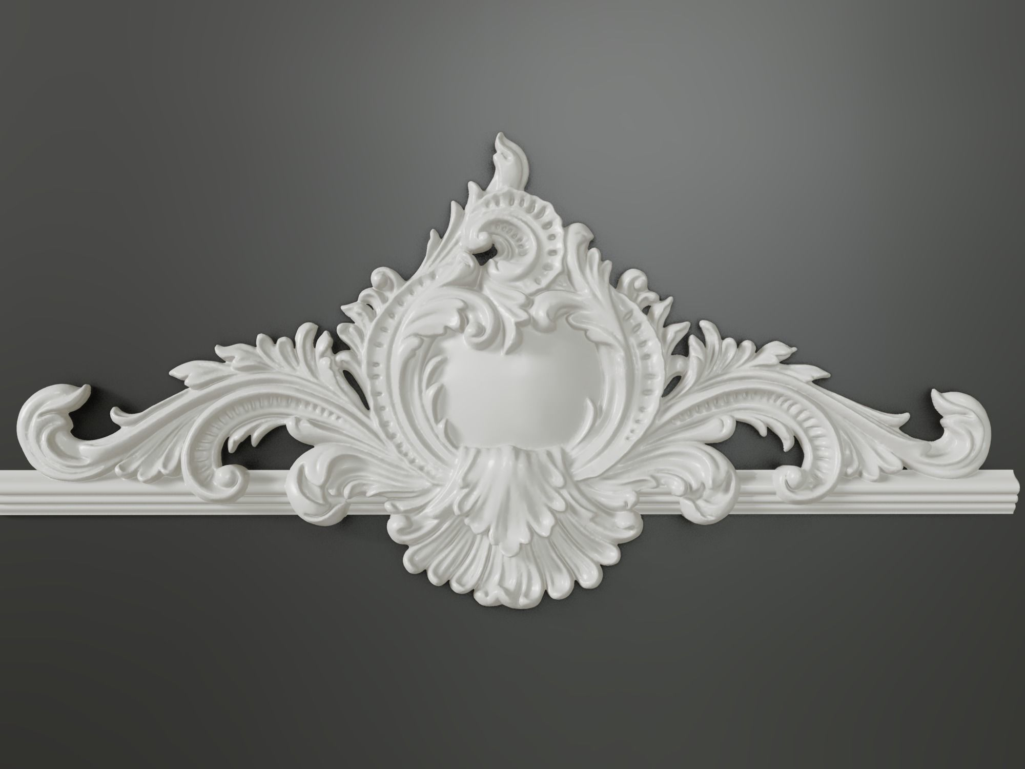 Classic baroque cartouches onlay element 005