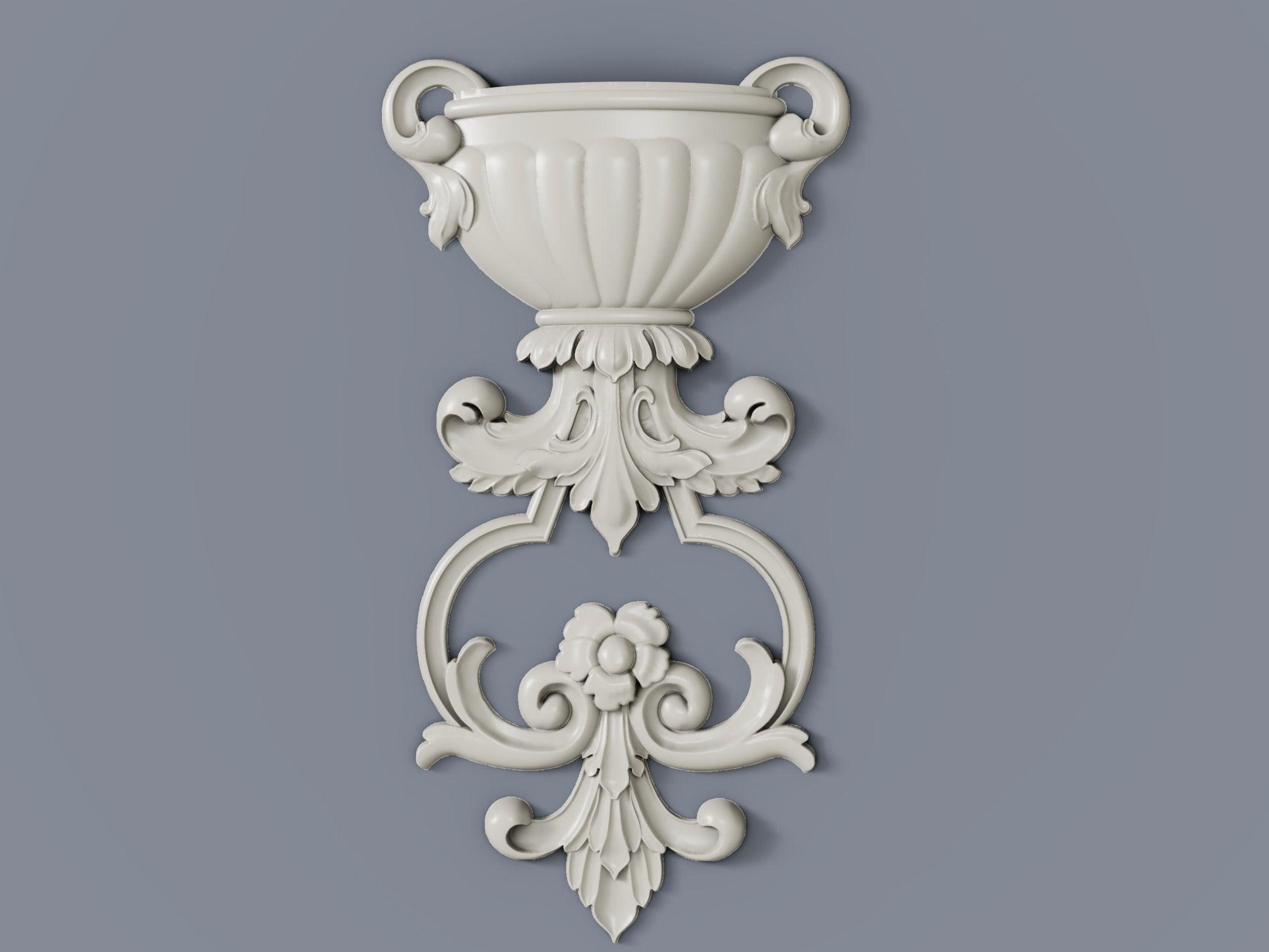 Classic baroque cartouches onlay element 008 VASE