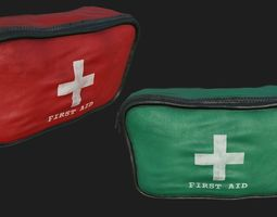 low-poly 3d model first aid kit pbr