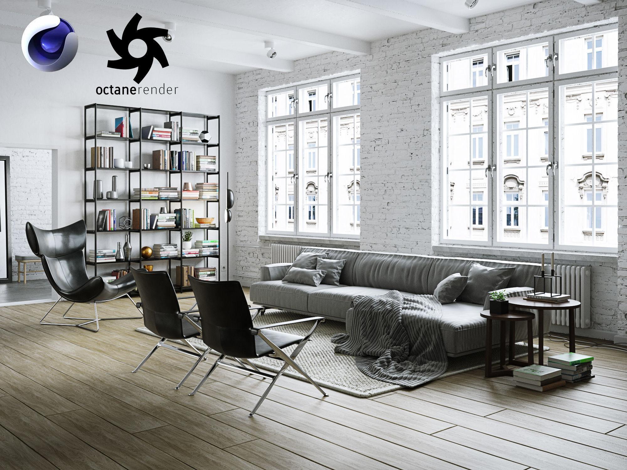 Living Room Interior Scene for Cinema 4D and Octane Render | 3D model