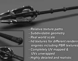 PBR 3d medieval mace blunt weapon