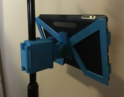 3d printable model snap-clip folding ipad microphone stand mount