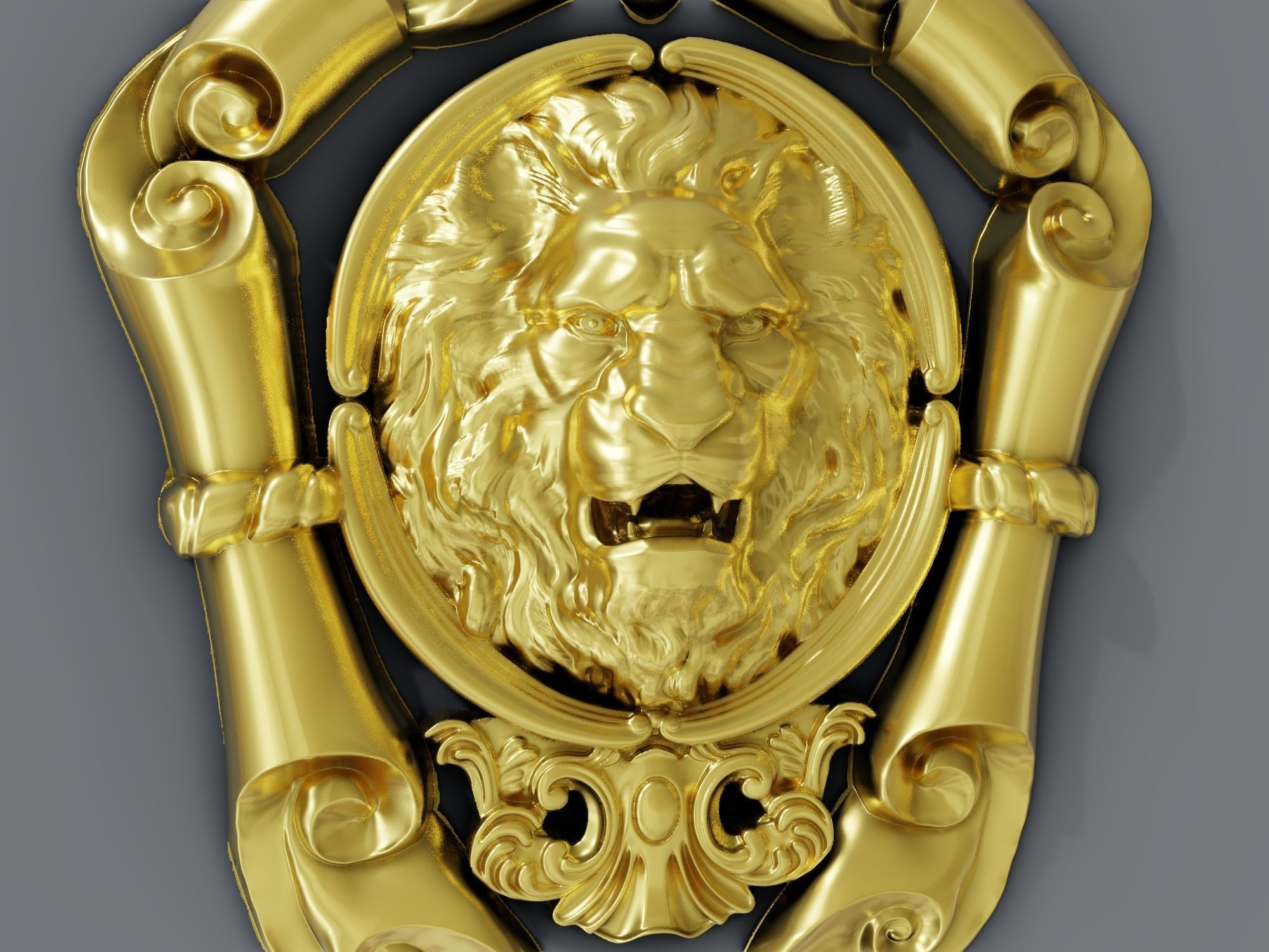Classic baroque cartouches onlay element  021 ANGRY LION