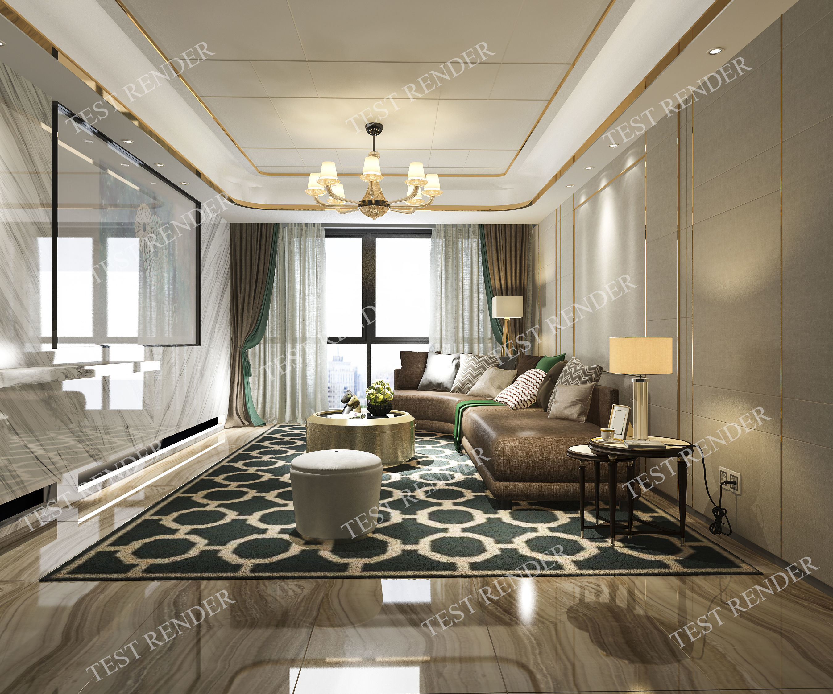 Luxury Classic Living Rooms: 3D Model Classic Modern Luxury Living Room With Tv