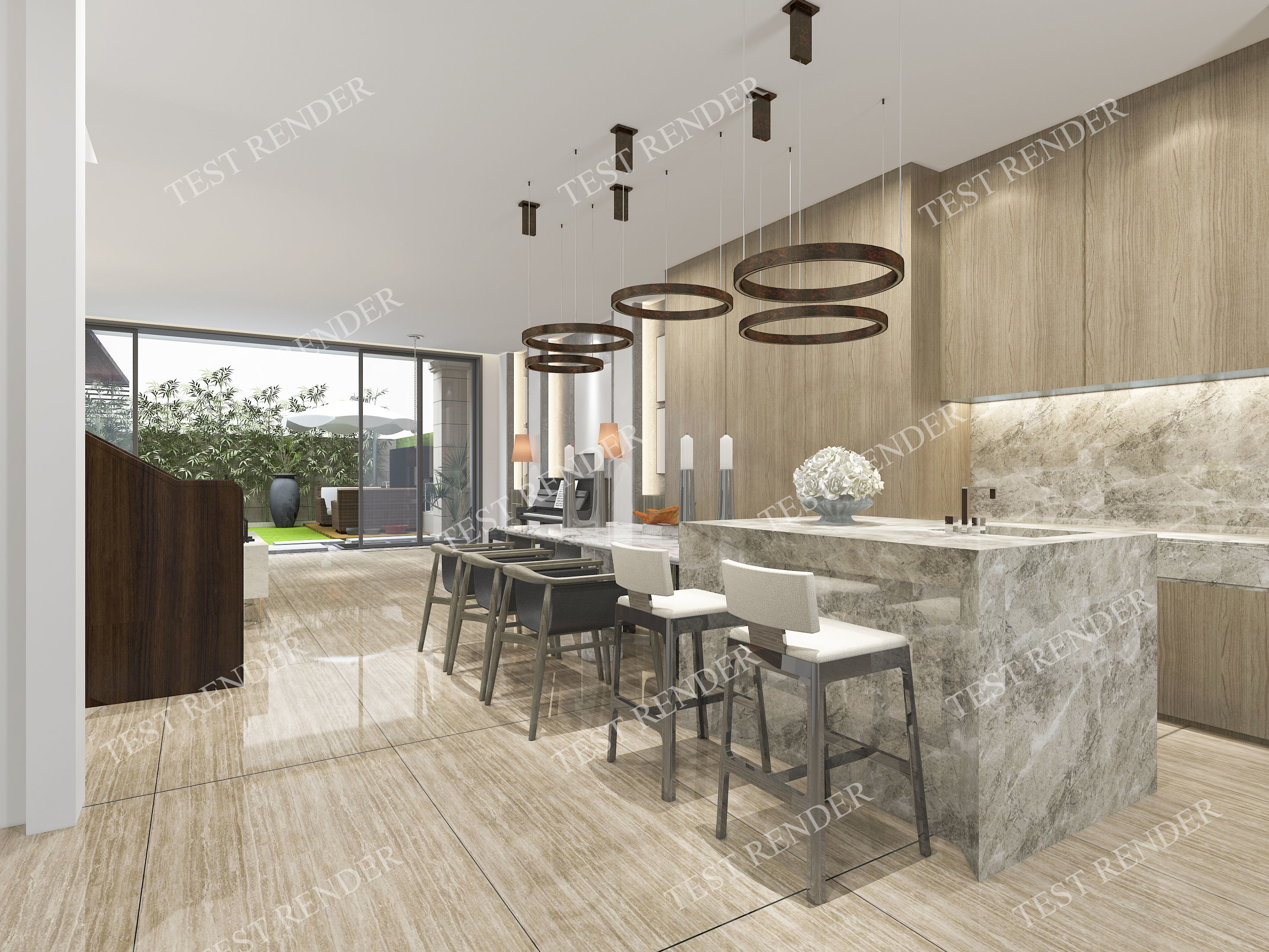 Luxury Modern kitchen and dining room with wood floor | 3D model