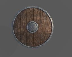 3D asset Low Poly Wooden Shield